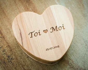 Custom Jewelry Box, Engraved Wood Box, Maple Box, Custom Heart Box, Monogrammed Box, Custom Wedding Box, Engraved Keepsake Box, Ring Box