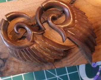Angel Wings Carved Wood Faux Gauge Earrings