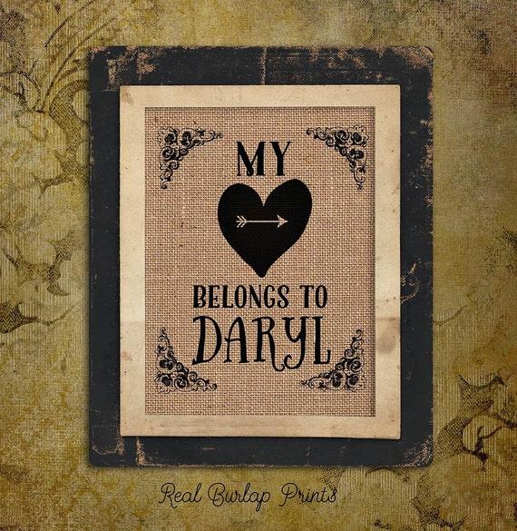 Daryl Personalized | My Heart Belongs to Daryl | Heart with Arrow |  Burlap Print | Personalized | #0085