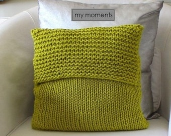 Chunky KNIT PILLOW wool pea