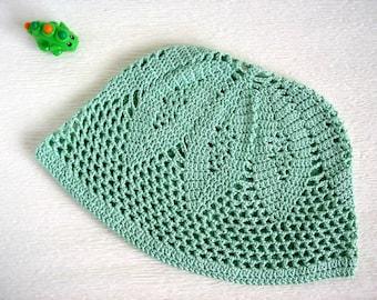 Summer hat. Green sun hat for boys. Summer beanie. Crocheted. Beach hat.