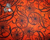By the Half Yard! Orange Webs Halloween Trick or Treat Hallowgraphix Brights from In the Beginning Fabrics Jason Yenter