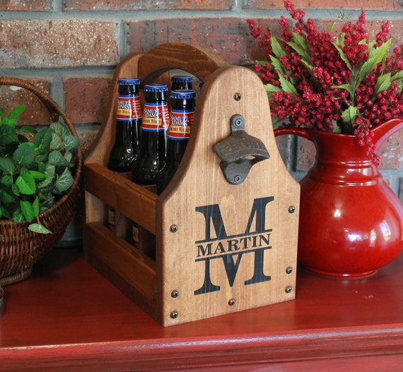 Wooden Beer Tote Personalized Beer Tote Wood 5 year Anniversary Wood Beer Caddy Valentine Father's Day Christmas Birthday Groomsmen Gift