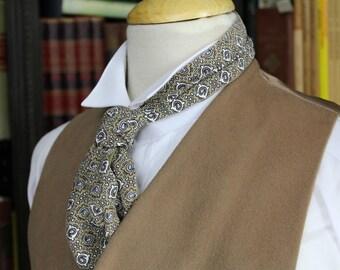 Geometric Pattern 2 Sided Ascot; Cravat; Brown & Tan/ Champagne