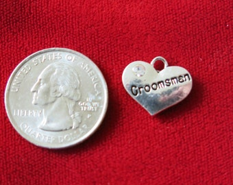 "5pc ""Groomsman"" charms in antique silver style (BC697)"