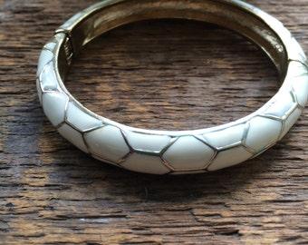 Retro Cream Enamel Hinged Bangle Bracelet