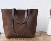 "Dark Brown Distressed Leather bag. Medium ""Cabasset Sa Riera"" carry all. Handmade"