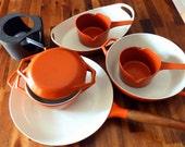 MINT 1960's Copco (Denmark) 8-Pc. Cookware Set--Michael Lax Design--Orange--Skillet, Dutch Oven, Stock Pot, 2 Saucepans, Baking Dish, Warmer