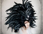 Black Feather Headdress ( goth,  fantasy, costume, Headdress, fascinator,  )
