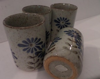 Vintage Otigari Pottery Cups Japan Blue Daisies