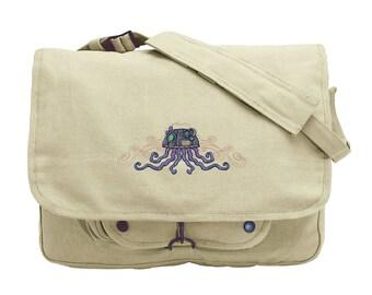 Mechanica Aquatica - Jellyfish Embroidered Canvas Messenger Bag