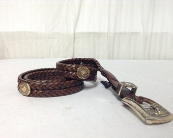 Free Ship Brighton Brown Braided Leather Belt Large 34""