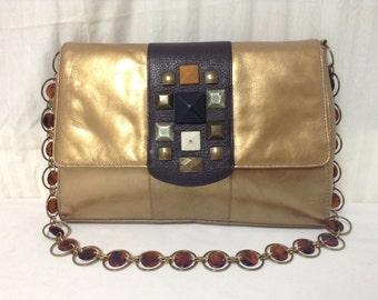 Alfani gold purse,bag,1980s,Gold Leather, Shoulder Bag,Gold,purses,bags