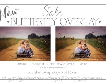 Beautiful Butterfly Photoshop overlay Add a little special touch to your photos EASY to follow step by step instructions