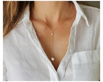 Gold Y necklace, lariat necklace, circle initial Y necklace, 14k gold filled or Sterling , CZ Y necklace, personalized Y necklace