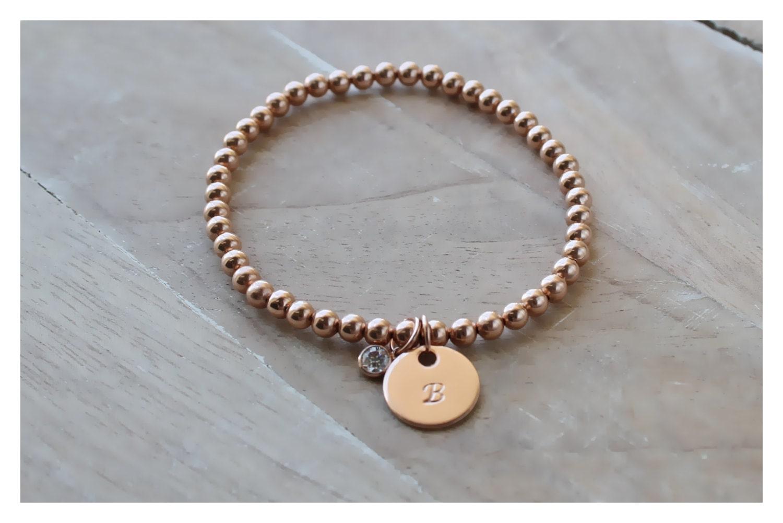 rose gold bracelet gold round beads bracelet personalized. Black Bedroom Furniture Sets. Home Design Ideas