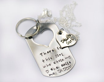 Father Daughter Key Chain and Necklace Set / This Girl Stole my Heart. She Calls me Daddy / Father's Day / Dad Key Chain / Hand Stamped
