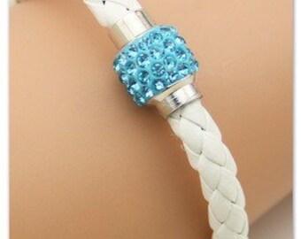 Blue Rhinestone White Leather Bracelet