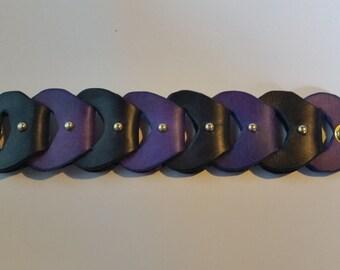 Black / Purple studded leather link bracelet