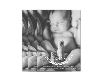 Digital Photo Birth Announcement Card // Birth Announcement Boy // Announcement Girl // 5x7 Printable Photo Baby Announcement // The Phoenix