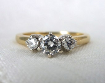 A Classic, Vintage, Three Diamond Engagement Ring in 14kt Yellow Gold - Faye