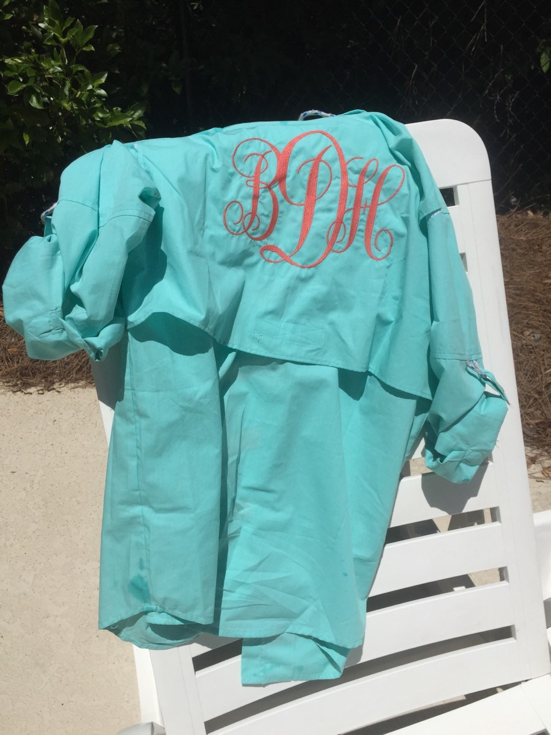 Long sleeve monogrammed fishing shirt embroidered for Monogram fishing shirt