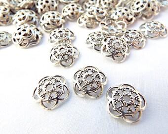 100 Silver Bead Caps, 13mm Bead Caps, Filigree Bead Caps, Antique Silver Caps, Silver Flower Caps, Jewelry Supplies, UK Seller