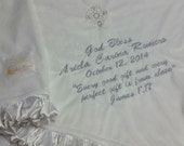 Personalized Christening Baptism Dedication Baby Blanket minky and satin. You choose colors