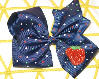 Hand Painted Strawberry Hair Bow