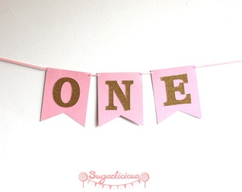 One Pink Gold Bunting Garland. 1st Birthday Pink & Gold Glitter Bunting Banner Garland Decoration Birthday Girl