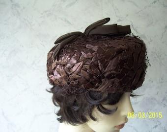Beautiful Authentic Vintage 50'S Raffia/Net Occasion Hat