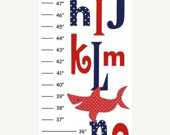 Personalized ABC Shark Canvas Growth Chart