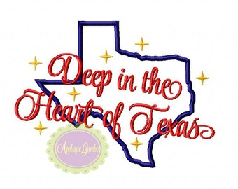 "State of Texas ""Deep in the Heart of Texas"" Machine Embroidery Applique Design"