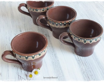 Bulgarian ceramic Brown 4 cups RETRO stoneware crockery 1970