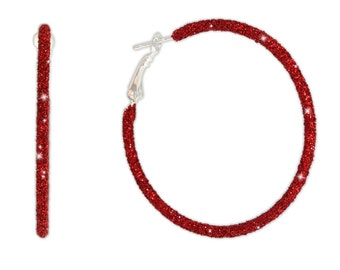 Sparkly Twinkling Crimson Red Glitter Large Steel Hoop Earrings, 2 Inch Diameter, Christmas, Holidays