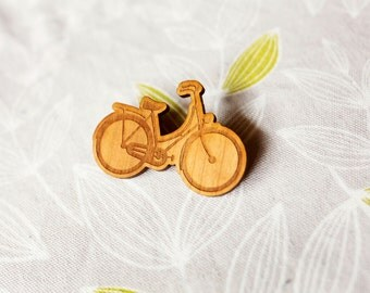 Bicycle Brooch - Illustrated Vintage Style Design - Laser Cut from Cherry Timber