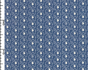 Japanese Fabric ~ Kokka Fabric ~ Elephants Fabric ~ Blue Fabric ~ Home Decor Fabric ~ Cotton Printed Canvas ~ Boys Fabric ~ Girls Fabric