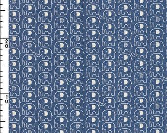 Japanese Fabric ~ Kokka Fabric ~ Elephants Fabric ~ Blue Fabric ~ Home Decor Fabric ~ Cotton Printed Canvas ~ Boys Fabric ~ Girls Fabric