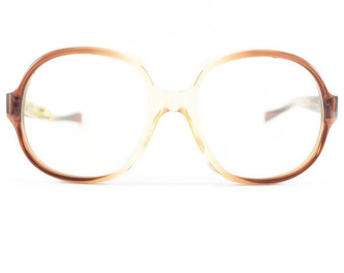 80s Vintage Eyeglass Frame | NOS American Optical Clear Brown Glasses | 1980s Oversize Round Eyeglasses - Dusty