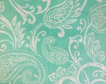 One Half Yard of Fabric Material - Ikat Style Aqua Paisley