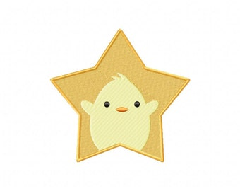 INSTANT DOWNLOAD Chick Star Machine Embroidery Design