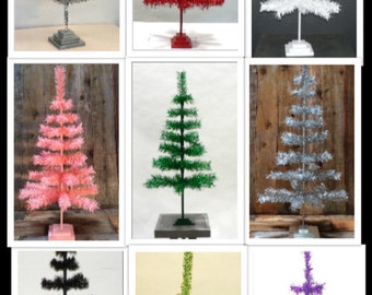 "48"" Classic Tinsel Feather Tree Tabletop Christmas Retail Tree"