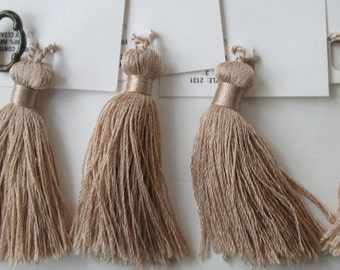 "Brown Tassels Set of (4)  3 1/2""  Home Decor  Pillows Keys Purses Crafting"