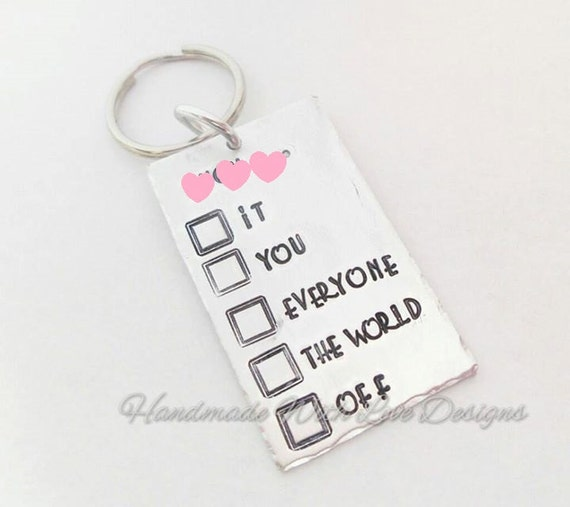 F*** It Everything The world keyring Hand Stamped Keyring