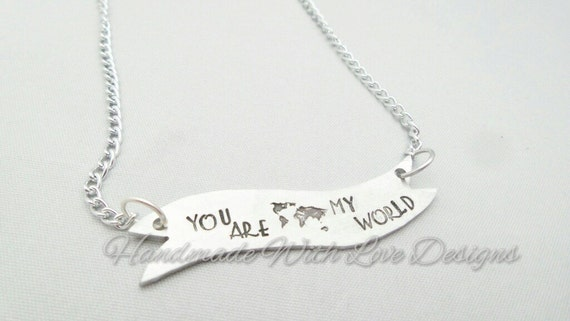 World Banner chain Hand Stamped Necklace