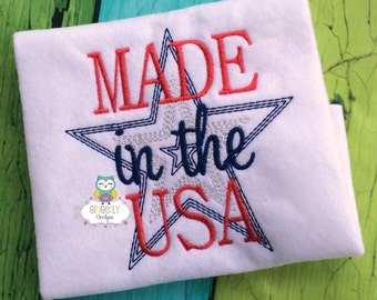 Made in the USA Star Patriotic or 4th of July Shirt or Bodysuit, Patriotic Shirt, 4th of July Shirt, Girl 4th of July Shirt, Fourth of July