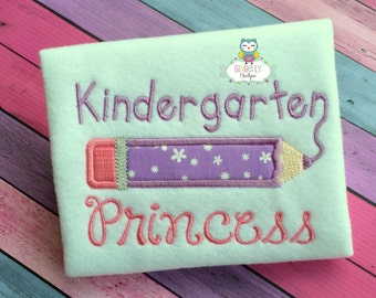 Kindergarten Princess Shirt, Girl Back to School Shirt, Preschool Princess, First Grade Princess, Back to School, First Day of School Shirt