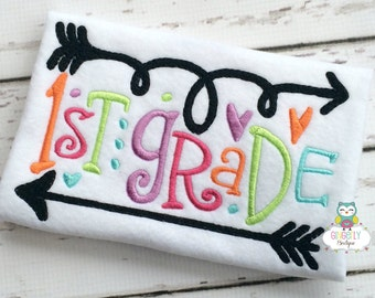 School Grade with Arrows and Hearts, Girl Back to School Shirt, First Day of School Shirt, Pre-K, Preschool, Kindergarten, 2nd, 3rd Grade