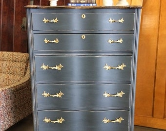 SOLD!!! Gray Painted French Provincial Chest