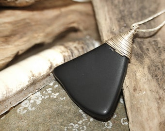 Black Sea Glass and Sterling Silver Necklace
